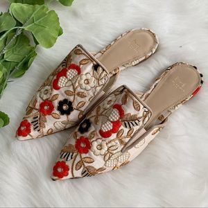 Marc Fisher   Alpaca Shiloh Embroidered Flat Mules